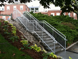 Galvanized Stair Guardrails With Offset Handrails