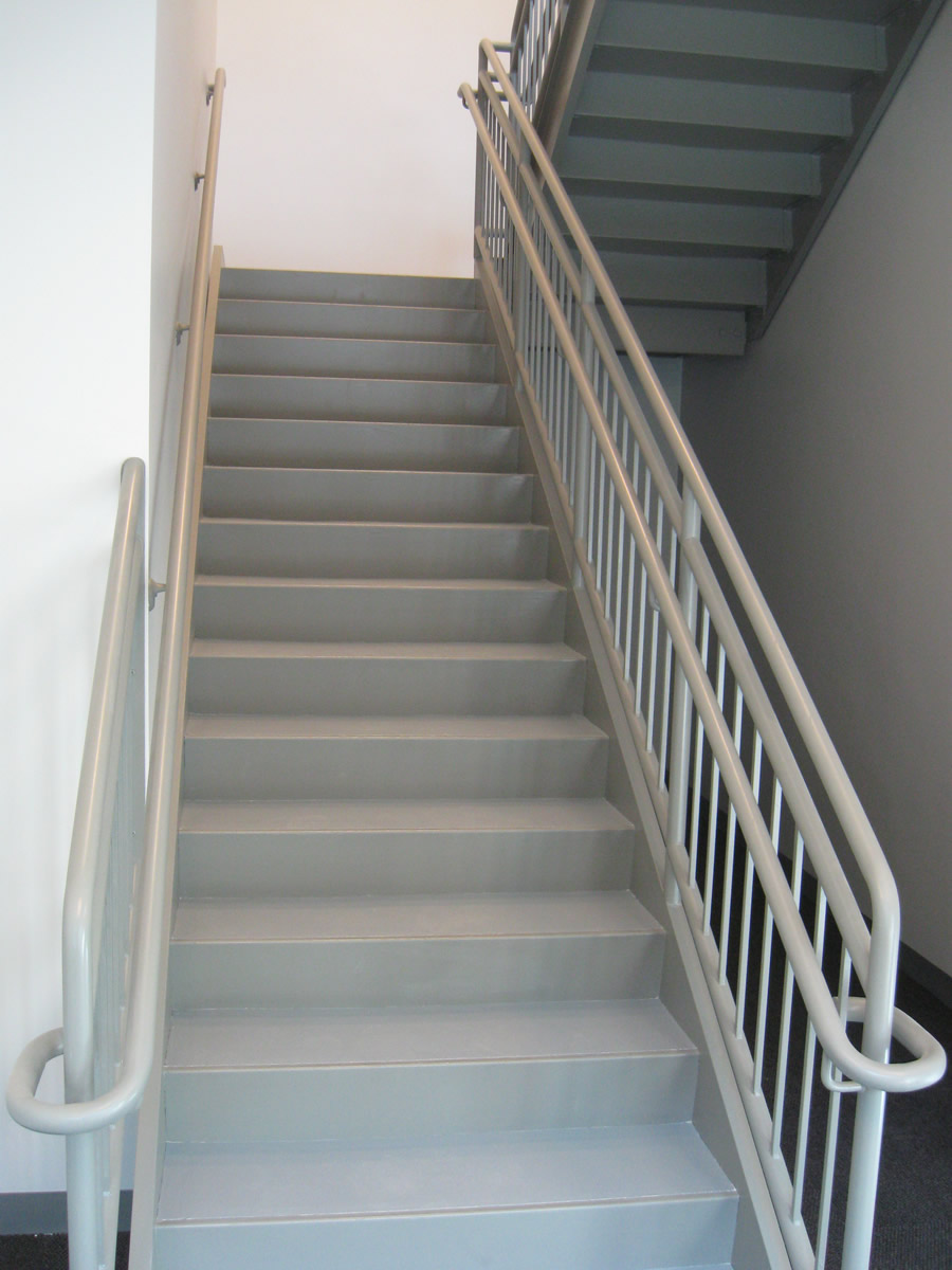 ... Stairs With Railings · Interior Commercial Guardrail With Offset  Handrail ...