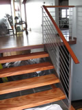 Stainless Steel Round Bar And Wood Stairs